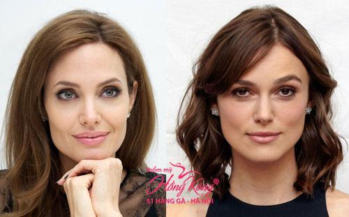 Trong khi đó, nhiều ngôi sao ở phương Tây như Angelina Jolie (trái) hay Keira Knightley (phải) sở hữu khuôn mặt vuông vức nhưng vẫn được coi là những biểu tượng sắc đẹp hàng đầu Hollywood