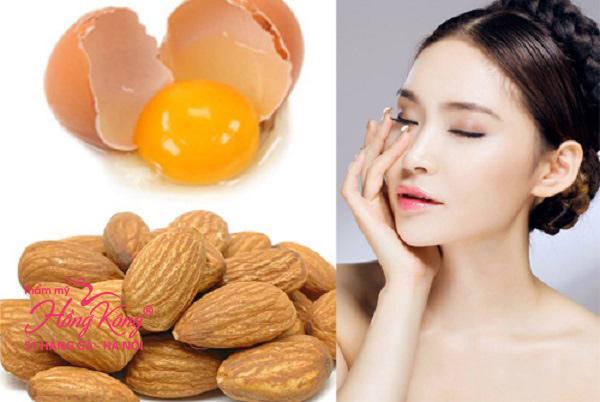 Mặt nạ lòng trắng trứng gà và hạnh nhân giúp se khít lỗ chân lông, căng da mặt hiệu quả