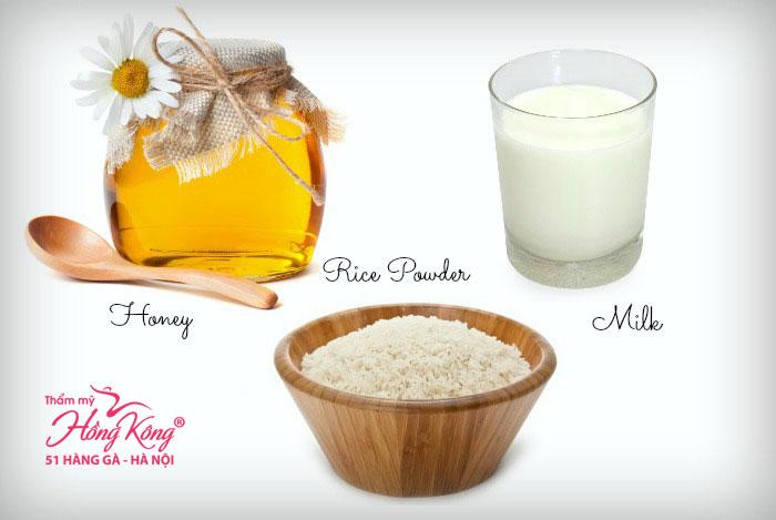 Mặt nạ nước gạo + sữa tươi không đường + mật ong