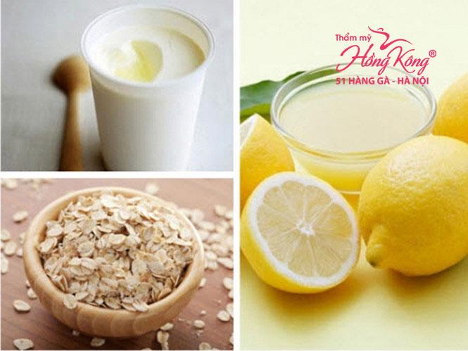 Hỗn hợp chanh + bột yến mạch + sữa chua + mật ong
