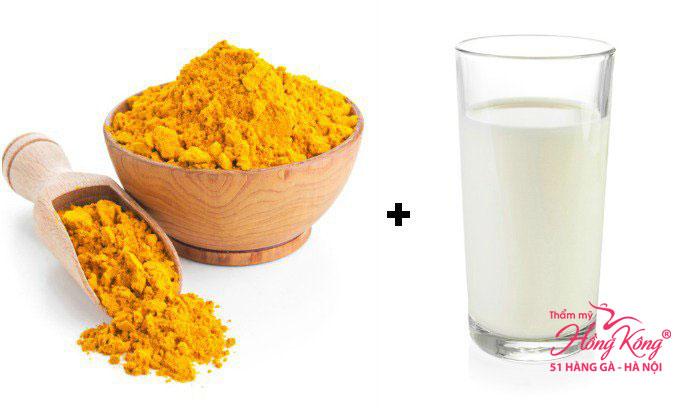 Bột nghệ + sữa tươi