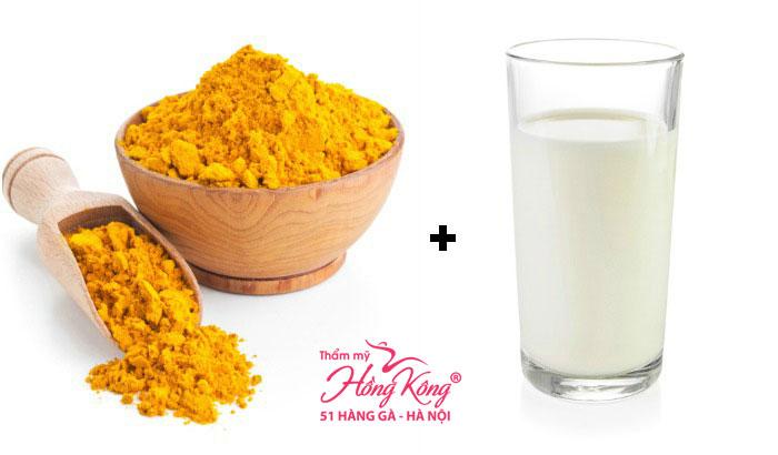 Mặt nạ bột nghệ + sữa tươi không đường