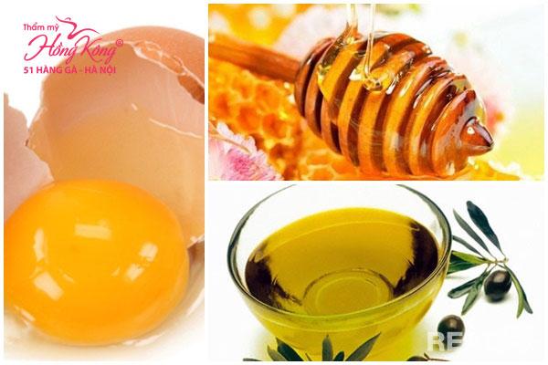 Mặt nạ mật ong, lòng trắng gà và dầu ôliu