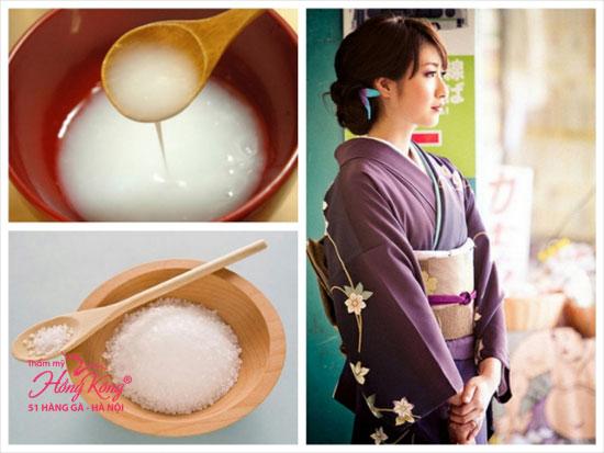 Mặt nạ nước vo gạo + muối