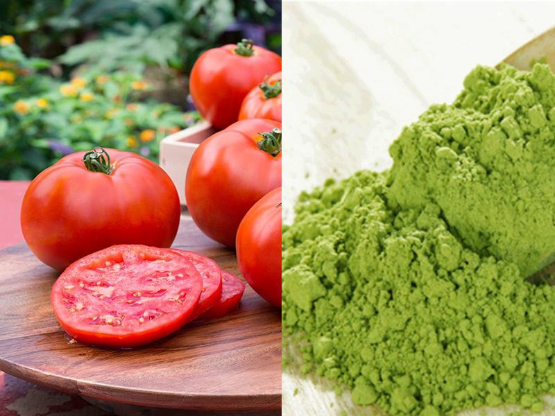 Sử dụng mặt nạ bột trà xanh và cà chua 3 lần mỗi tuần sẽ cho bạn làn da tươi trẻ