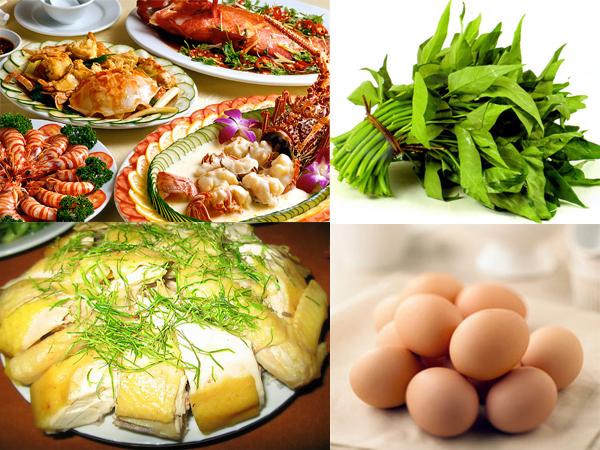 Không ăn các loại thực phẩm như: thịt bò, rau muống, đồ nếp, thịt gà…