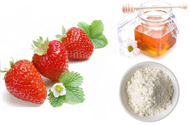 Mặt nạ dâu tây, bột mì và mật ong