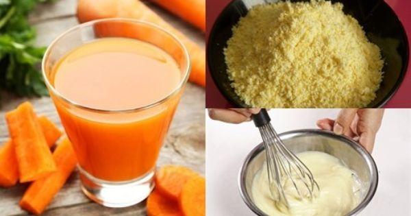 """Mặt nạ bột ngô và nước ép cà rốt giúp đẩy lùi lão hóa và """"hồi sinh"""" làn da trở nên tươi trẻ, tràn đầy sức sống."""