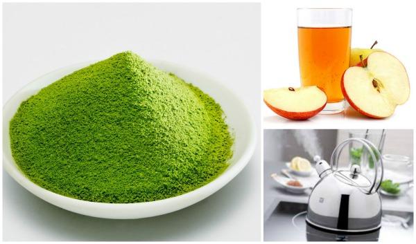 Chỉ cần đắp bột trà xanh và giấm táo thường xuyên lên vùng lưng bị mụn, các nốt mụn cũng như vết thâm sẽ không còn làm phiền bạn nữa.