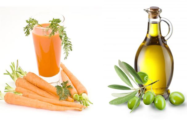 Kết hợp cà rốt với dầu oliu sẽ mang lại cho bạn gái làn da trẻ trung, giảm thiểu vết chân chim và nếp nhăn.