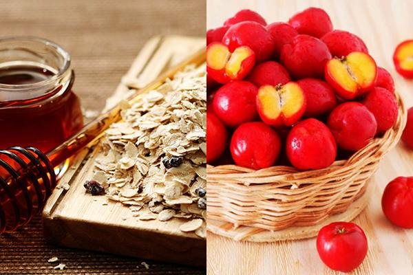 Mặt nạ sơ ri + mật ong + bột yến mạch